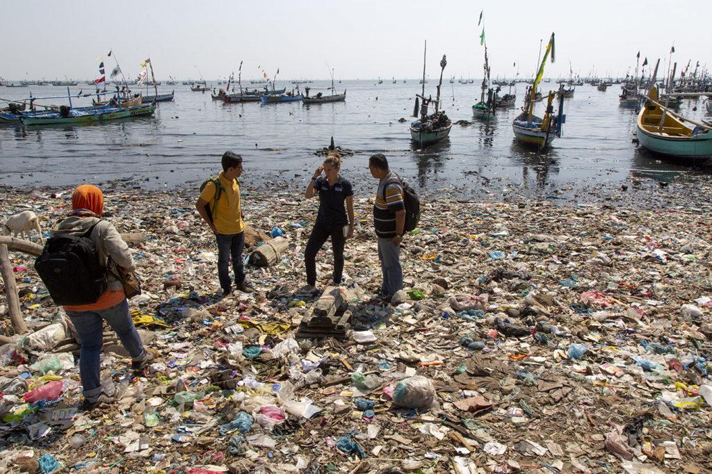 plastic pollution beach indonesia